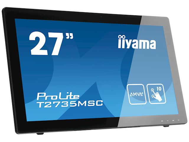 "iiyama ProLite monitor T2735MSC-B2  27"" Black, AMVA+, Full HD, Projective Capacitive 10pt touch, HDMI, USB Hub, Webcam image 1"
