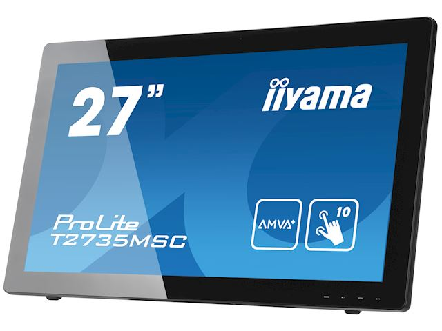 "iiyama ProLite monitor T2735MSC-B2  27"" Black, AMVA+, Full HD, Projective Capacitive 10pt touch, HDMI, USB Hub, Webcam image 2"