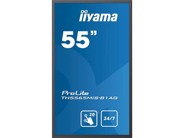 "iiyama ProLite TH5565MIS-B1AG 55"" Infrared 20pt touch, IPS, 24/7, Landscape/Portrait, Anti-glare, HDMI, Brightness sensor image 4"