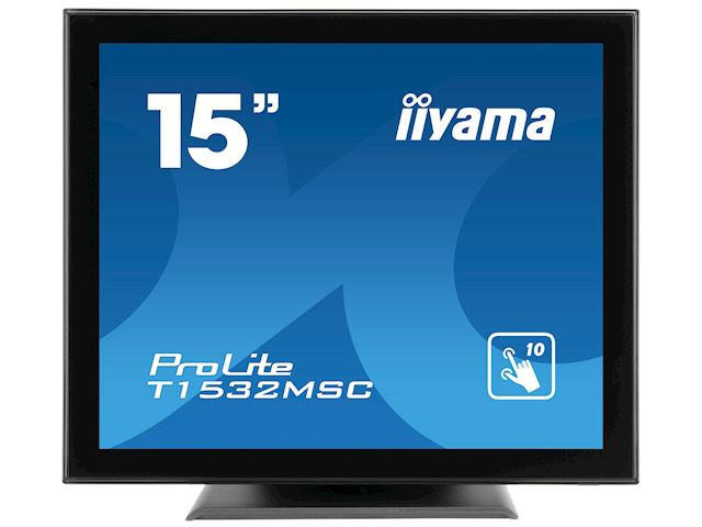 "iiyama ProLite T1532MSC-B5X 15"", Black, Projective Capacitive 10pt touch, edge to edge glass,scratch resistant, HDMI, DisplayPort image 0"