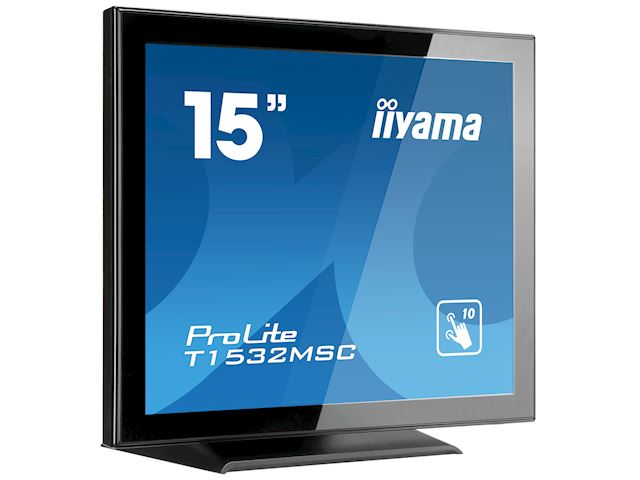 "iiyama ProLite T1532MSC-B5AG 15"", Black, Projective Capacitive 10pt touch, edge to edge glass, Anti-glare coating, scratch resistant, HDMI, DisplayPort  image 1"