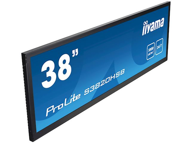 "iiyama ProLite monitor S3820HSB-B1 38"" stretched digital signage, 24/7, fanless, HDMI, Sunlight readable, Landscape/Portrait, Metal bezel, with handles image 3"