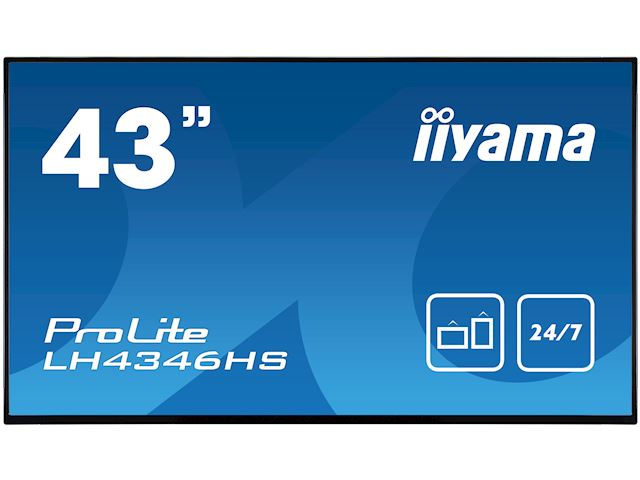 "iiyama ProLite LH4346HS-B1 42"", Black, IPS, Slim Bezel, HDMI, DisplayPort, Full HD, 24/7, Landscape, Daisy Chain function, PiP, Media Player image 0"