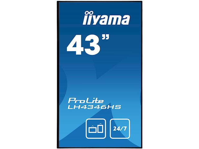 "iiyama ProLite LH4346HS-B1 42"", Black, IPS, Slim Bezel, HDMI, DisplayPort, Full HD, 24/7, Landscape, Daisy Chain function, PiP, Media Player image 1"