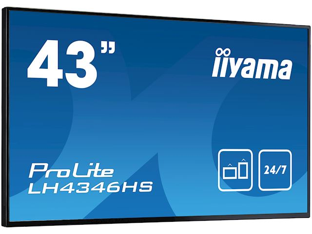"iiyama ProLite LH4346HS-B1 42"", Black, IPS, Slim Bezel, HDMI, DisplayPort, Full HD, 24/7, Landscape, Daisy Chain function, PiP, Media Player image 2"