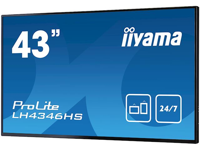 "iiyama ProLite LH4346HS-B1 42"", Black, IPS, Slim Bezel, HDMI, DisplayPort, Full HD, 24/7, Landscape, Daisy Chain function, PiP, Media Player image 5"