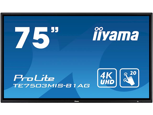 "iiyama ProLite monitor TE7503MIS-B1AG 75"", 4k UHD, Integrated annotation software, Infrared 20pt touch, 24/7, Anti-glare coating, PC slot, IPS, HDMI, DisplayPort image 0"
