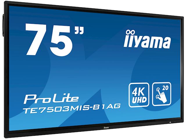 "iiyama ProLite monitor TE7503MIS-B1AG 75"", 4k UHD, Integrated annotation software, Infrared 20pt touch, 24/7, Anti-glare coating, PC slot, IPS, HDMI, DisplayPort image 1"
