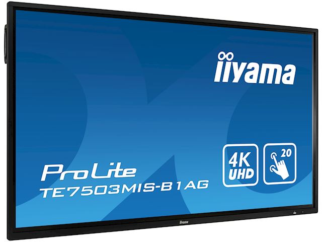 "iiyama ProLite monitor TE7503MIS-B1AG 75"", 4k UHD, Integrated annotation software, Infrared 20pt touch, 24/7, Anti-glare coating, PC slot, IPS, HDMI, DisplayPort image 2"