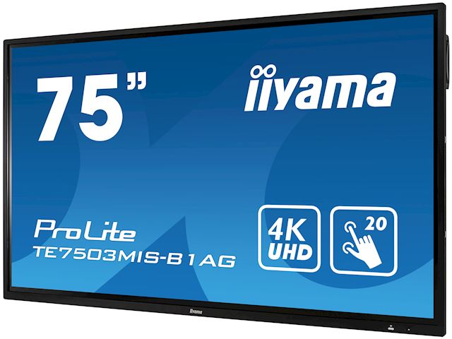 "iiyama ProLite monitor TE7503MIS-B1AG 75"", 4k UHD, Integrated annotation software, Infrared 20pt touch, 24/7, Anti-glare coating, PC slot, IPS, HDMI, DisplayPort image 4"