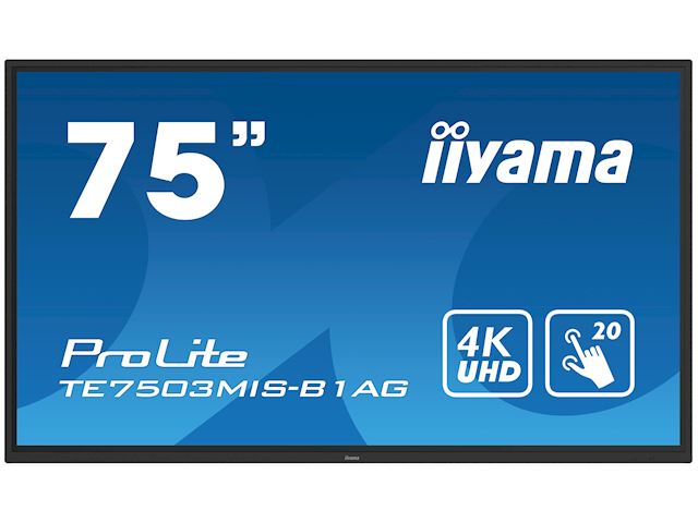 "iiyama ProLite monitor TE7503MIS-B1AG 75"", 4k UHD, Integrated annotation software, Infrared 20pt touch, 24/7, Anti-glare coating, PC slot, IPS, HDMI, DisplayPort image 21"