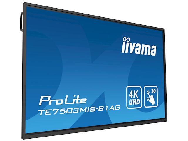 "iiyama ProLite monitor TE7503MIS-B1AG 75"", 4k UHD, Integrated annotation software, Infrared 20pt touch, 24/7, Anti-glare coating, PC slot, IPS, HDMI, DisplayPort image 23"