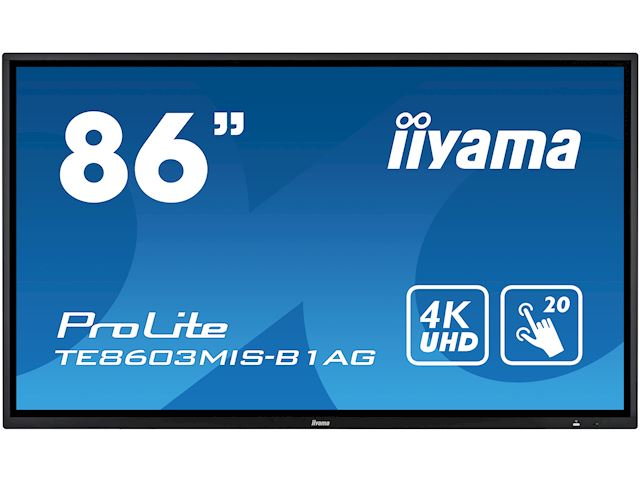 "iiyama ProLite TE8603MIS-B1AG 86"", 4k UHD, Infrared 20pt touch, PC slot, 24/7, IPS, Anti-glare coating, HDMI, DisplayPort, 32gb Internal memory image 0"