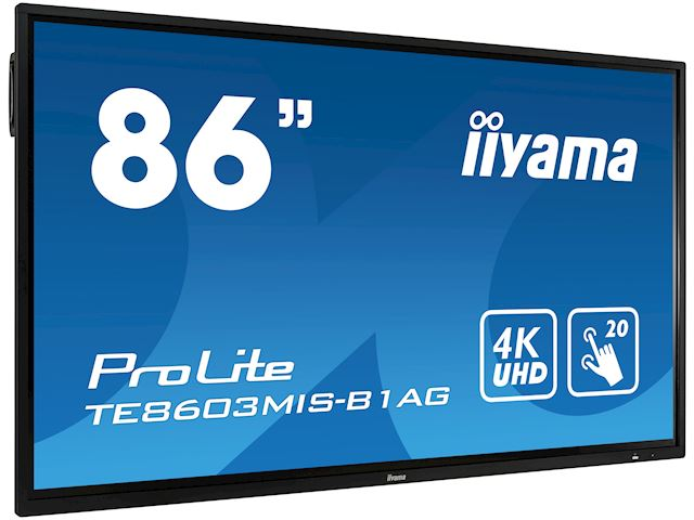 "iiyama ProLite TE8603MIS-B1AG 86"", 4k UHD, Infrared 20pt touch, PC slot, 24/7, IPS, Anti-glare coating, HDMI, DisplayPort, 32gb Internal memory image 1"