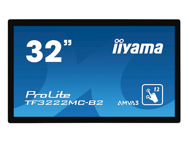 "iiyama ProLite monitor TF3222MC-B2 32"", Projective Capacitive 12pt touch, Open frame, Scratch resistant, AMVA3, VGA, DVI, 20/7, Slim bezel image 0"