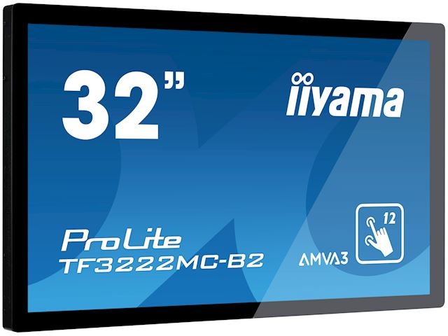"iiyama ProLite monitor TF3222MC-B2 32"", Projective Capacitive 12pt touch, Open frame, Scratch resistant, AMVA3, VGA, DVI, 20/7, Slim bezel image 1"