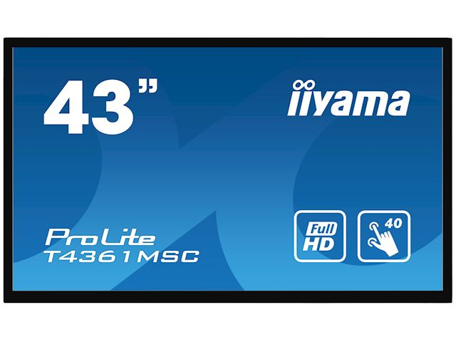 "iiyama ProLite monitor T4361MSC-B1 43"" Projective Capacitive 40pt touch, edge to edge touch screen image 0"