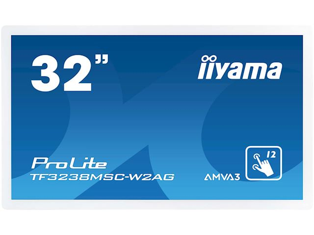 "iiyama Prolite monitor TF3238MSC-W2AG 32"" White, LED, Anti Glare, Full HD,  Projective Capacitive 12pt Touch, 24/7, Landscape/Portrait/Face-up, Open Frame, IP54 rated (front) image 0"