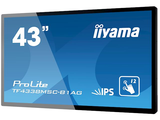 "iiyama Prolite TF4338MSC-B1AG 43"" Black, IPS, Anti Glare, Full HD,  Projective Capacitive 12pt Touch, 24/7, Landscape/Portrait/Face-up, Open Frame, IPX1 rated image 2"