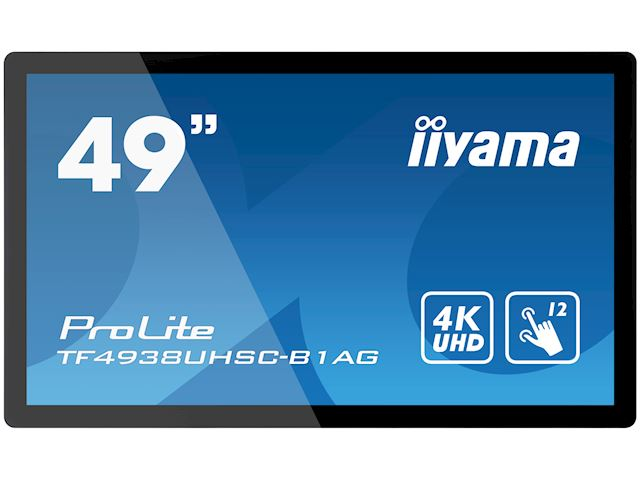 "iiyama Prolite TF4938UHSC-B1AG 49""  Black, IPS, Anti Glare, 4K UHD,  Projective Capacitive 12pt Touch, 24/7, Landscape/Portrait/Face-up, Open Frame, IPX1 rated image 0"