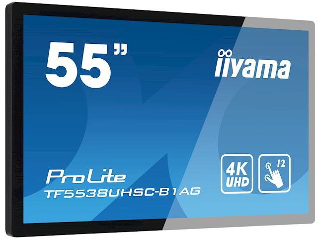 "iiyama Prolite monitor TF5538UHSC-B1AG 55"" Black, IPS, Anti Glare, 4K UHD,  Projective Capacitive 12pt Touch, 24/7, Landscape/Portrait/Face-up, Open Frame, IPX1 rated image 1"