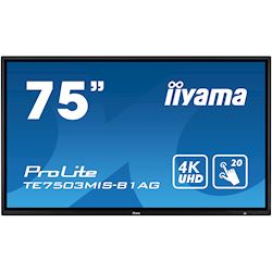 "iiyama ProLite monitor TE7503MIS-B1AG 75"", 4k UHD, Integrated annotation software, Infrared 20pt touch, 24/7, Anti-glare coating, PC slot, IPS, HDMI, DisplayPort thumbnail 0"