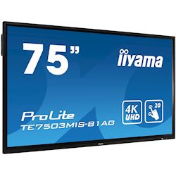 "iiyama ProLite monitor TE7503MIS-B1AG 75"", 4k UHD, Integrated annotation software, Infrared 20pt touch, 24/7, Anti-glare coating, PC slot, IPS, HDMI, DisplayPort thumbnail 1"