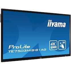"iiyama ProLite monitor TE7503MIS-B1AG 75"", 4k UHD, Integrated annotation software, Infrared 20pt touch, 24/7, Anti-glare coating, PC slot, IPS, HDMI, DisplayPort thumbnail 2"