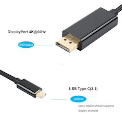 USB 3.1 Type C (Thunderbolt 3) to DisplayPort 2M Cable, 4K@60Hz UHD Adapter Male to Male, Gold-Plated  thumbnail 1