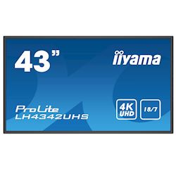 "iiyama ProLite monitor LH4342UHS-B1 43"", Digital Signage, IPS, HDMI, DisplayPort, 4K, 18/7, Landscape/Portrait, Media Player, Intel® SDM slot"